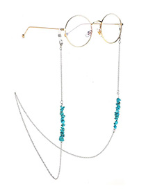 Fashion Silver Chain Natural Turquoise Beads Non-slip Glasses Chain