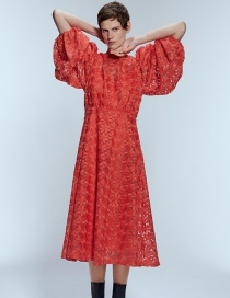 Fashion Red Embroidered Mid-length Dress