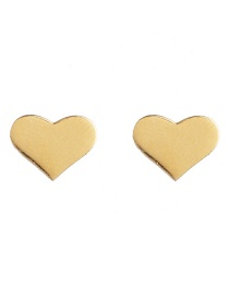 Fashion Heart Golden Stainless Steel Geometric Pattern Earrings