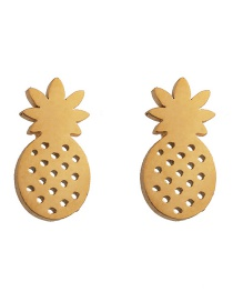 Fashion Pineapple Gold Stainless Steel Geometric Pattern Earrings