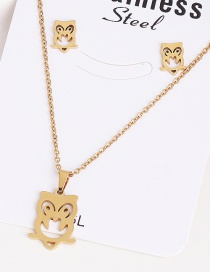 Fashion Owl Gold Stainless Steel Ecg Necklace Earring Set