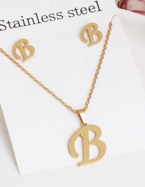 Fashion B Gold Stainless Steel Letter Necklace Earrings Two-piece