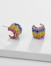 Fashion Color Copper Gemstone Diamond 925 Silver Stud Earrings