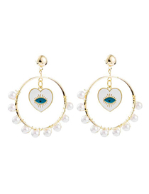 Fashion Gold Pearl Eye Earrings