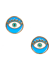 Fashion Lake Blue Eye Round Drop Ear Studs