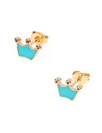 Fashion Lake Blue Drip Oil Crown Diamond Stud Earrings