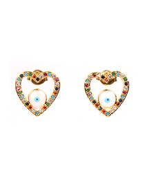 Fashion Gold Diamond-encrusted Eyes: Zircon Stud Earrings