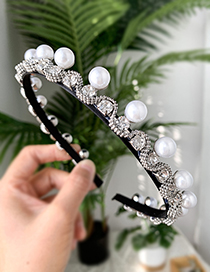 Fashion White Alloy Pearl Rhinestone Headband