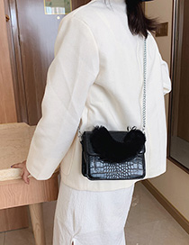 Fashion Black Crocodile Plush Chain Bracelet Shoulder Crossbody Bag
