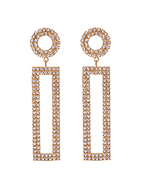 Fashion Gold Alloy Studded Rectangular Stud Earrings