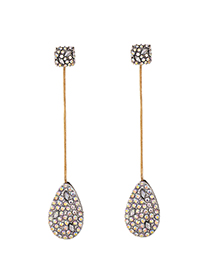 Fashion Ab Color Alloy Diamond Drop Earrings