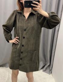 Fashion Green Corduroy Shirt Dress