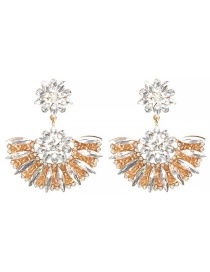 Fashion White Alloy Flower And Diamond Earrings