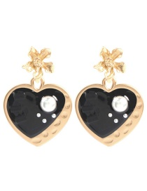 Fashion Black Alloy Flower Heart Shaped Drop Oil And Diamond Pearl Earrings