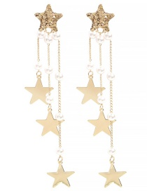 Fashion Gold Alloy Star Diamond Pearl Tassel Earrings