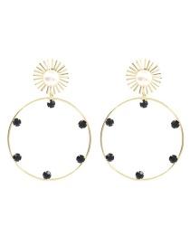 Fashion Black Alloy Diamond Earrings