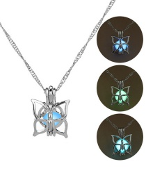 Fashion Silver Four-petal Flower Hollow Night Bead Necklace