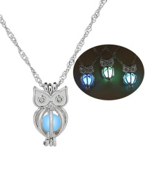 Fashion Silver Owl Hollow Night Bead Necklace