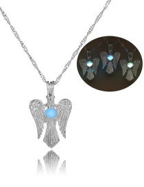 Fashion Silver Wings Hollowed Out Bead Necklace