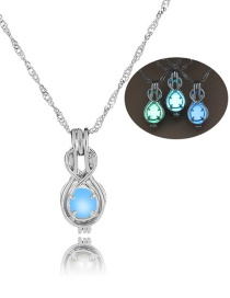Fashion Silver Small Gourd Hollow Night Light Bead Necklace