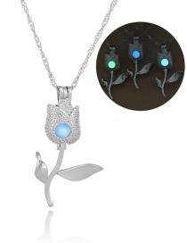 Fashion Silver Tulip Hollow Night Bead Necklace