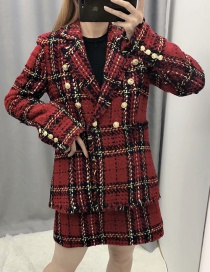Fashion Red Plaid Printed Double-breasted Suit