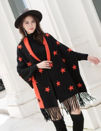Fashion Black Orange Knitted Fringed Cloak Shawl Sweater