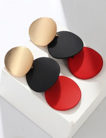 Fashion Red Geometric Disc Painting Stud Earrings