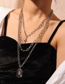 Fashion Silver Multilayer Cross Necklace