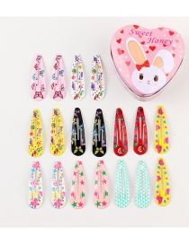 Fashion Color Butterfly Star Print Spray Paint Drops Children Hair Clips 18 Boxes