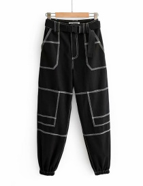 Fashion Black Bright Line Trousers