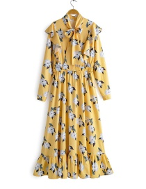 Fashion Yellow Buttoned Collar Flash Print High Waist Pleated Jumpsuit