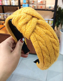 Fashion Yellow Wool Twisted Knotted Headband Knitting Knotted Knit Twist Headband