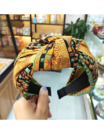 Fashion Yellow Celebrity Style Wide-brimmed Printed Linen Fabric Knotted Headband
