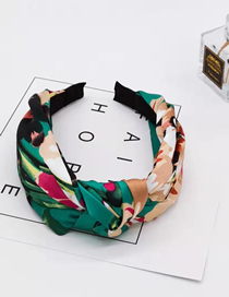 Fashion Green Geranium Knotted Headband Geranium Printed Satin Fabric Knotted Wide-brimmed Headband