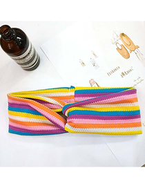 Fashion 2# Color Strip Double Thick Section Wool Stretch Stripe Knit Bow Cross Headband