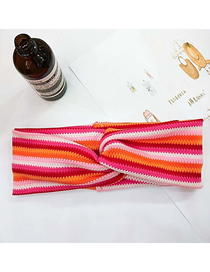 Fashion 8# Color Strip Double Thick Section Wool Stretch Stripe Knit Bow Cross Headband