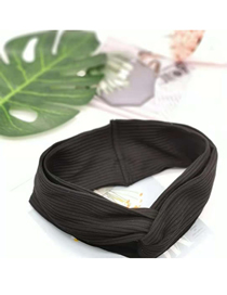 Fashion Black Woolen Wide Hair Band: Wine Red Wool Wide Hair Band Knitted Wool Cross Hair Band