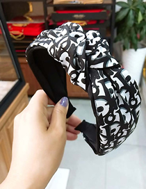 Fashion Black Letter D Clip Headband Wide-brimmed Knotted Headband
