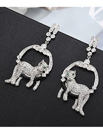 Fashion Silver S925 Sterling Silver Needle Set With Zircon Leopard Round Earrings