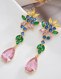 Fashion Color S925 Sterling Silver Needle Micro-inlaid Zircon Drop-shaped Flower Earrings