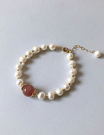 Fashion Gold Natural Freshwater Pearl Strawberry Crystal Pearl Bracelet