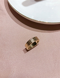 Fashion Three-layer Ring (gold) Curved Wide-faced Light Ring With Water Drops