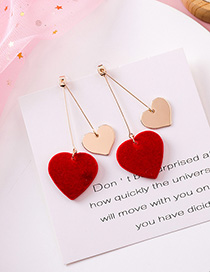 Fashion Long Red Heart Earrings