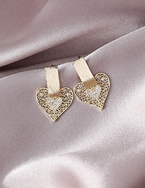 Fashion Gold Micro-inlaid Zircon Hollow Love Earrings