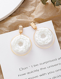 Fashion White 925 Silver Needle Geometric Plush Round Metal Earrings