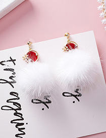 Fashion White 925 Silver Needle Ball Snowflake Earrings