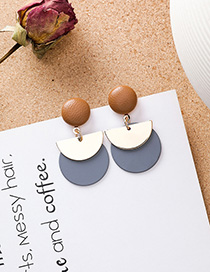 Fashion Gray Contrast Stitching Geometric Metal Semi-circular Earrings