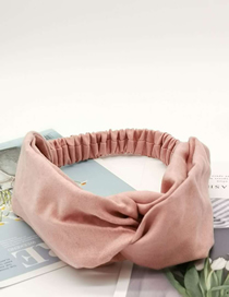 Fashion Pink Suede Cross Hair Band Wide-brimmed Suede Hair Band