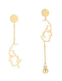 Fashion Gold Asymmetrical Portrait Earrings
